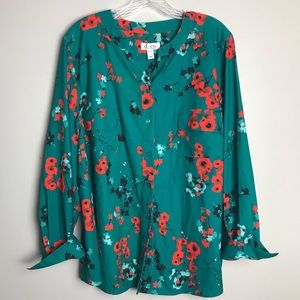 Denim & Co turquoise & poppy blouse tunic XL